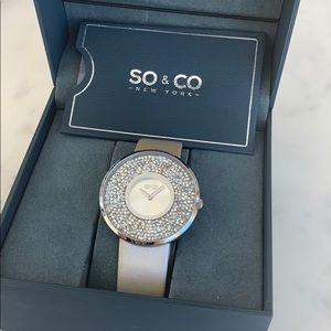 BNIB So&Co Crystal Filled Quartz Madison Watch